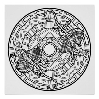 Color Your Own Lizard Mandala Coloring Poster