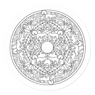 Color Your Own Mandala Tree Squirrels Card