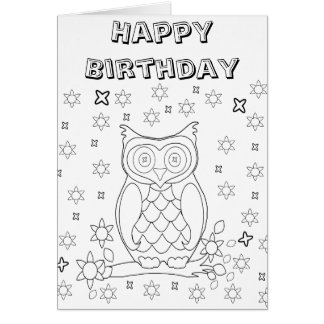 Color Your Own Owl DIY Gifts Card