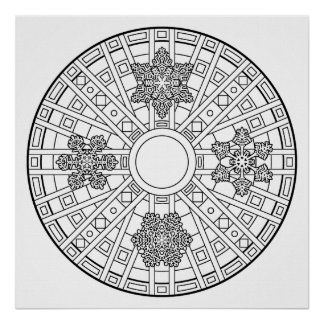 Color Your Own Snowflakes Mandala Coloring Poster