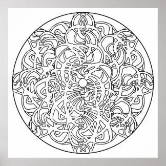 Color Your Own Yin Yang Mandala Coloring Poster