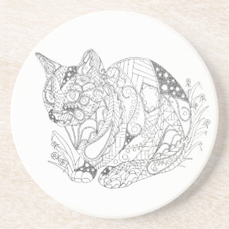 Colorable Cat Abstract Art Drawing for Coloring Coaster