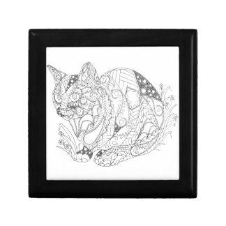 Colorable Cat Abstract Art Drawing for Coloring Gift Box