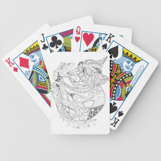 Colorable Cat Abstract Art Drawing for Coloring Poker Deck