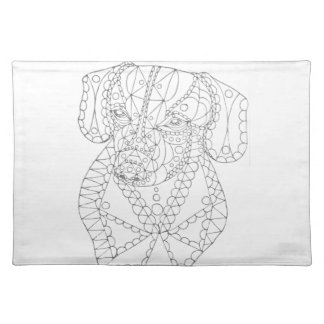 Colorable Dachshund Abstract Art Adult Coloring Placemat