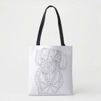 Colorable Dachshund Abstract Art Adult Coloring Tote Bag