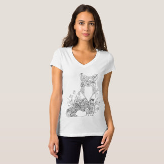 Colorable Fox Abstract Animal Art Adult Coloring T-Shirt