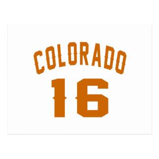 Colorado 16 Birthday Designs Postcard