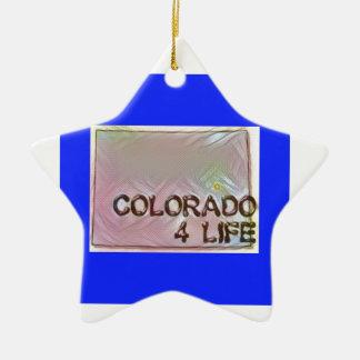 """Colorado 4 Life"" State Map Pride Design Ceramic Ornament"