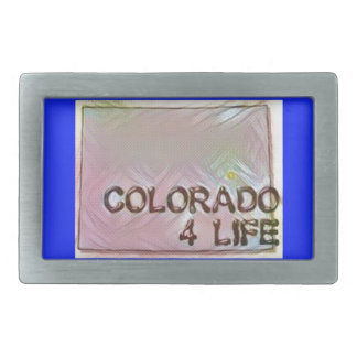 """Colorado 4 Life"" State Map Pride Design Rectangular Belt Buckles"