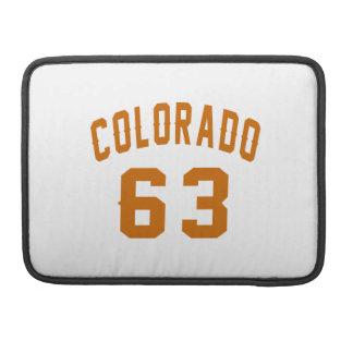 Colorado 63 Birthday Designs MacBook Pro Sleeves