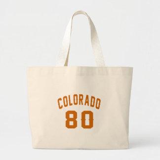 Colorado 80 Birthday Designs Large Tote Bag