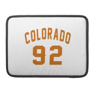 Colorado 92 Birthday Designs MacBook Pro Sleeves