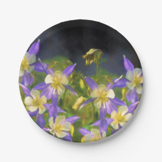 Colorado Blue Columbine Paper Plate