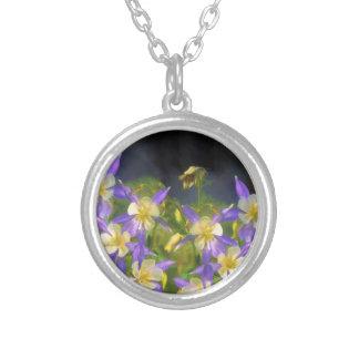 Colorado Blue Columbine Silver Plated Necklace