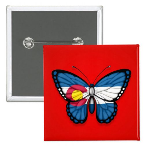 Colorado Butterfly Flag on Red Buttons