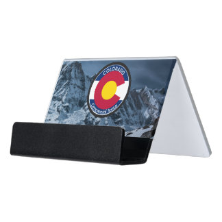 Colorado Circular Flag Desk Business Card Holder