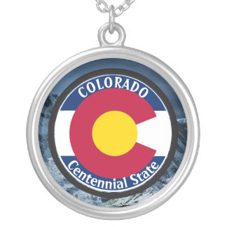 Colorado Circular Flag Silver Plated Necklace