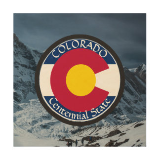 Colorado Circular Flag Wood Canvas