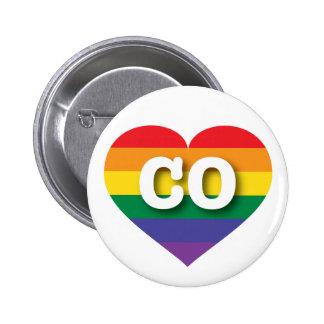 Colorado CO rainbow pride heart 6 Cm Round Badge