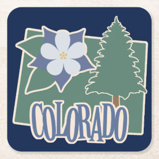 Colorado Columbine Green Blue Square Paper Coaster