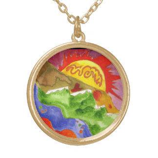 """Colorado Dreaming"" Painting by Beth Wellesley Gold Plated Necklace"