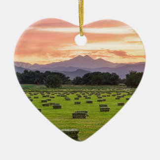 Colorado_Farmers_Burning_Sunset Ceramic Heart Decoration