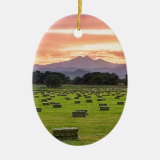 Colorado_Farmers_Burning_Sunset Ceramic Oval Decoration