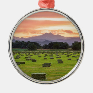 Colorado_Farmers_Burning_Sunset Silver-Colored Round Decoration