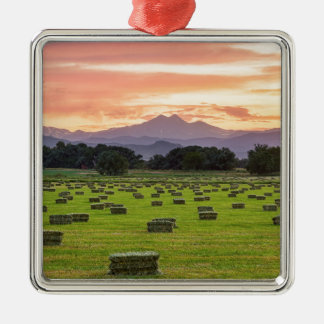 Colorado_Farmers_Burning_Sunset Silver-Colored Square Decoration