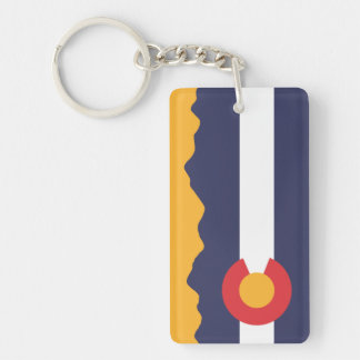Colorado Flag and Mountain Range Keychain