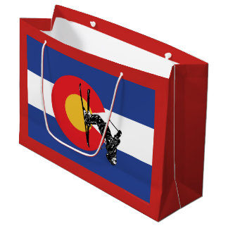 Colorado Flag and Skier Large Gift Bag