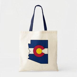Colorado flag Arizona outline tote bag
