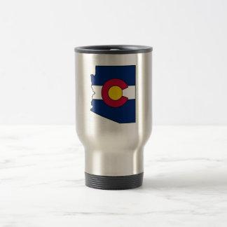 Colorado flag Arizona outline travel mug