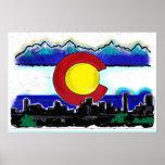 Colorado flag artistic denver skyline poster