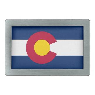 Colorado flag rectangular belt buckle