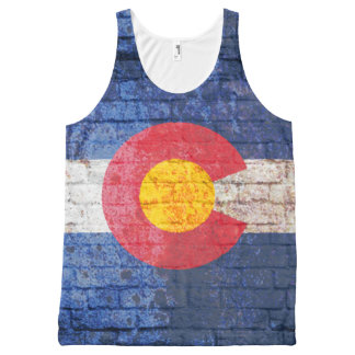 Colorado flag brick wall grunge shirt