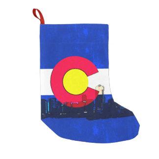 Colorado flag Denver scene holiday stocking