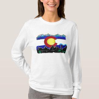 Colorado flag denver skyline artistic ladies hoody