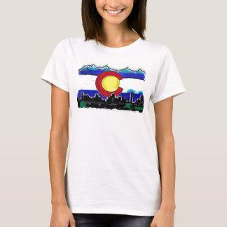 Colorado flag denver skyline artistic ladies tank