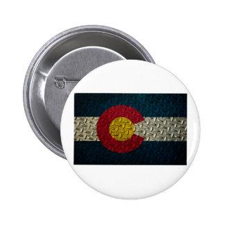 Colorado Flag Diamond Plate Button