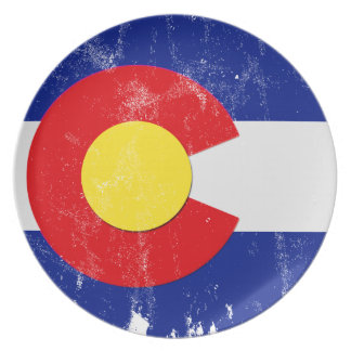 Colorado Flag Distressed Plate