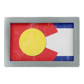 Colorado Flag Distressed Rectangular Belt Buckle