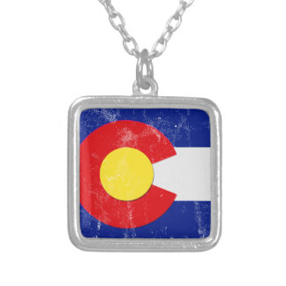 Colorado Flag Distressed Silver Plated Necklace