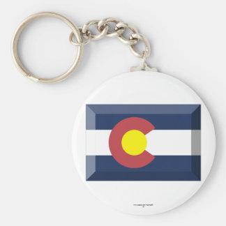 Colorado Flag Gem Basic Round Button Key Ring