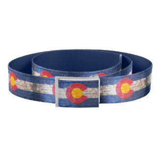 Colorado flag grunge brick wall belt