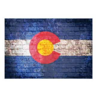 Colorado flag grunge brick wall poster photo print