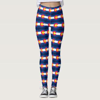 Colorado flag grunge pattern leggings