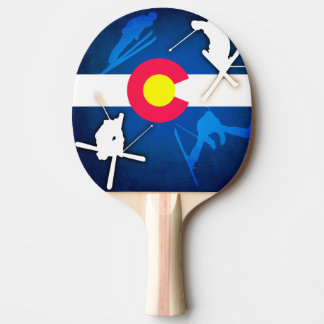 Colorado flag grunge skier ping pong paddle