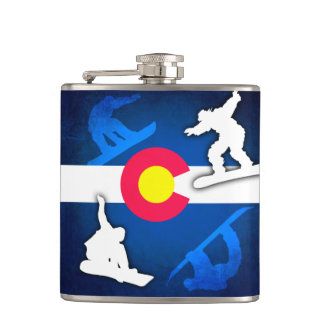 Colorado flag grunge snowboarder flask